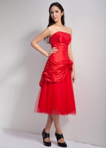 Red A-line Strapless Tea-length Taffeta and Tulle Hand Made Flowers Dama Dress