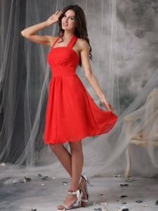 Red Empire Halter Knee-length Chiffon Ruched Quinceanera Dama Dresses