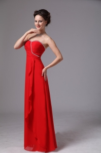 Red Sweetheart Beaded Ruch Chiffon Quinceanera Dama Dresses