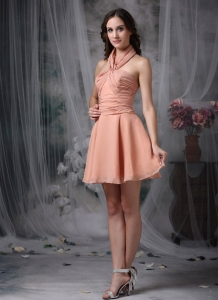 Rust Red A-line Halter Mini-length Chiffon Ruch Dama Dresses for Quinceanera