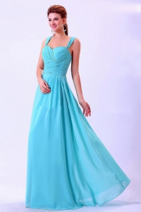 Straps Ruched For 2013 Aqua Blue Dama Dress Chiffon