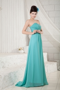 Turquoise Empire Sweetheart Brush Train Chiffon Ruch Dama dresses