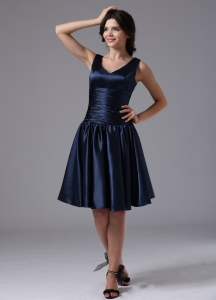 V-neck Empire and Ruch For Navy Blue Dama Dresses for Quinceanera