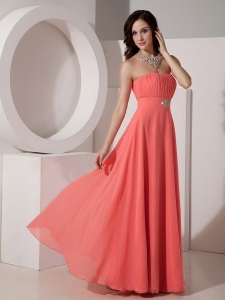 Watermelon Empire Strapless Floor-length Chiffon Beading Quinceanera Dama Dresses