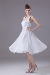 White Halter Empire Chiffon Tea-length Dama Dress