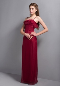 Wine Red Column Straps Floor-length Chiffon Dama Dress