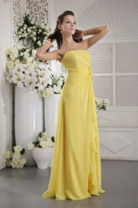 Yellow Empire Strapless Floor-length Chiffon Hand Flowers Dama dresses