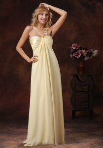 2013 Light Yellow Straps Ruched Bodice Discount Quinceanera Dama Dresses Floor-length