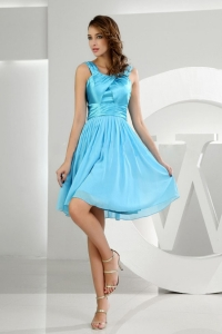A-Line Straps Chiffon Knee-length Baby Blue Dama Dress