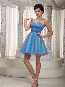 Aqua A-line / Princess Sweetheart Mini-length Organza Ruch Quinceanera Dama Dresses