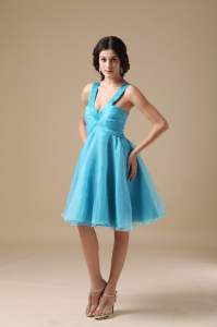 Aqua A-line V-neck Knee-length Organza Quinceanera Dama Dresses