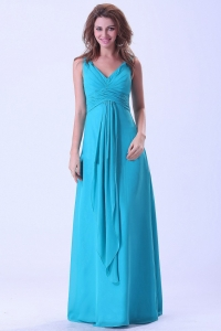 Aqua Blue Dama Dress With V-neck Chiffon Floor-length For Custom Made