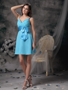 Aqua Blue Empire Straps Mini-length Chiffon Bowknot Dama Dresses for Quinceanera