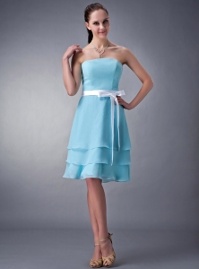 Aqua Empire Strapless Knee-length Chiffon Sash Dama Dress