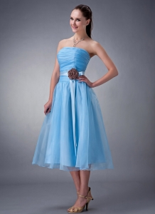 Baby Blue A-line / Princess Strapless Tea-length Chiffon Sash Dama Dress