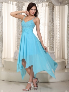 Baby Blue Empire Straps Asymmetrical Chiffon Ruch Dama Dresses for Quinceanera