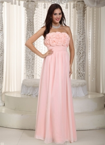 Baby Pink Empire Strapless Floor-length Chiffon Hand Made Flowers Quinceanera Dama Dresses