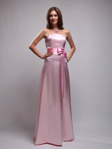 Baby Pink Empire Strapless Floor-length Taffeta Beading and Bowknot Quinceanera Dama Dresses