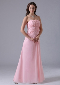 Baby Pink Ruched Decorate Simple Quinceanera Dama Dresses With Floor-length In 2013