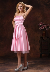 Baby Pink Spaghetti Straps Lovely Dama Dresses for Quinceanera With Sash Tea-length