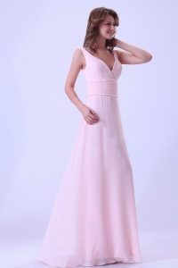 Baby Pink V-neck Dama Dress Chiffon