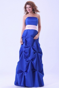 Blue Custom Made Dama Dress Wth Pink Sash and Pick-ups Floor-length
