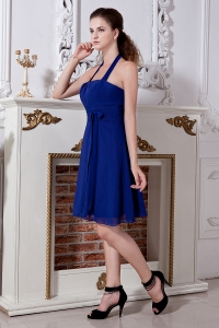 Blue Empire Halter Mini-length Chiffon Bow Dama Dresses for Quinceanera
