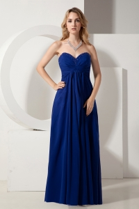 Blue Empire Sweetheart Floor-length Chiffon Beading Dama Dresses for Quinceanera