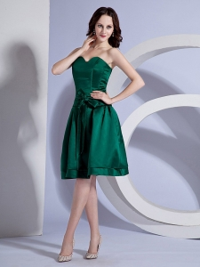 Bow Decorate Bodice Simple Green Taffeta Knee-length Dama Dress