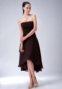 Brown A-line / Princess Strapless High-low Chiffon Ruch Dama Dress