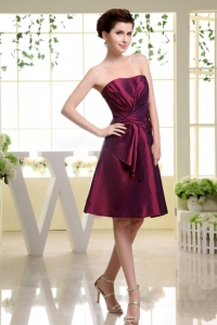 Burgundy Dama Dress With Ruch Knee-length and Taffeta