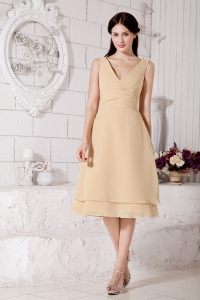 Champagne A-line / Pricess V-neck Tea-length Chiffon Ruch Dama Dresses for Quinceanera