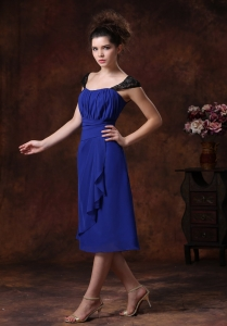 Chiffon Ruched Straps Navy Blue 2013 Tea-length Quinceanera Dama Dresses