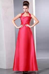 Coral Red Column Halter Ankle-length Taffeta Ruch Dama Dresses for Quinceanera