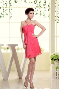 Coral Red Dama Dress With Straps Mini-length