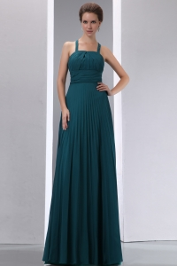 Dark Green A-line Straps Floor-length Chiffon Pleat Dama Dresses for Quinceanera