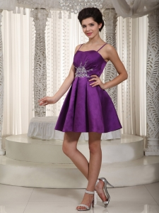Eggplant Purple A-line / Pricess Straps Mini-length Satin Beading Dama Dresses for Quinceanera
