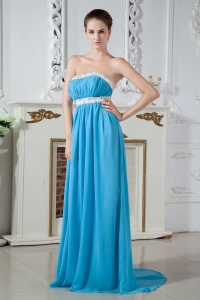 Empire Strapless Brush Train Chiffon Ruch and Beading Dama Dresses for Quinceanera