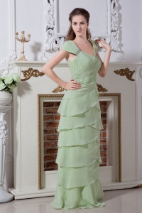 Green Column Floor-length Chiffon Beading and Rulles Layers Dama Dresses for Quinceanera