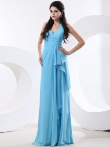 Halter Baby Blue For 2013 Custom Made Dama Dress With Ruch
