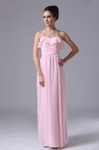Halter Pink Chiffon Column 2013 Dama Dress With Ruched