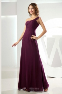 High Slit Beading One Shoulder Burgundy Column Dama Dress