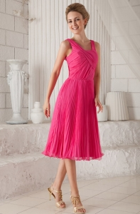 Hot Pink Empire Straps Tea-length Organza Pleat Dama Dresses for Quinceanera