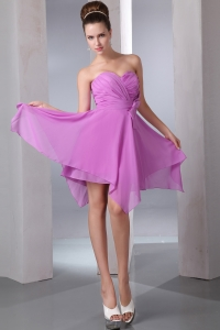 Lavender Empire Sweetheart Asymmetrical Chiffon Bow Dama Dresses for Quinceanera