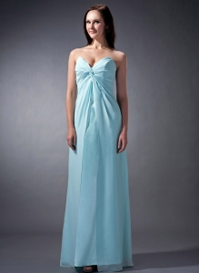 Light Blue Cloumn Sweetheart Floor-length Chiffon Ruch Dama Dress