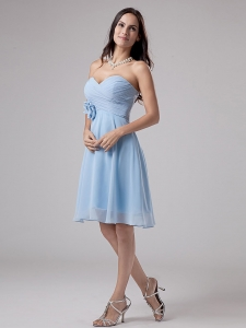 Light Blue Dama Dress With Hand Made Flower and Ruching Knee-length Chiffon