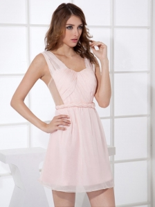 Light Pink Straps Mini-length Empire Mini-length 2013 Dama Dress