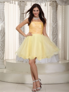 Light Yellow A-line / Pricess Strapless Mini-length Organza Ruch Dama Dresses for Quinceanera