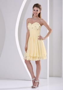 Light Yellow Chiffon Sweetheart Beaded Knee-length Dama Dresses for Quinceanera For Custom Made