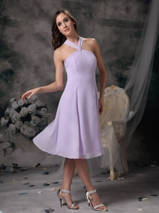 Lilac Empire V-neck Mini-length Chiffon Dama Dresses for Quinceanera